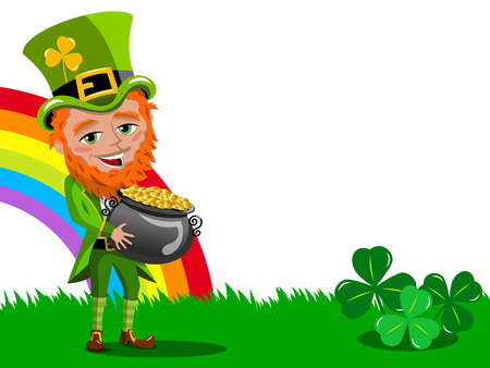 Saint Patricks Day Leprechaun Holding Pot of Gold frame isolated on white