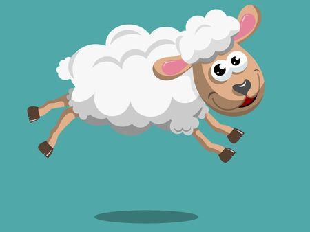 Happy Cartoon sheep jumping isolated Illustration