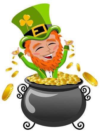 patrick: St Patrick or Saint Patrick s exulting inside pot of gold isolated on white Illustration