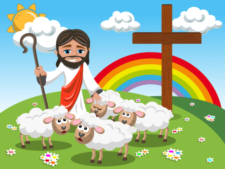 Cartoon Jesus holding stick and stroking sheep in the meadow
