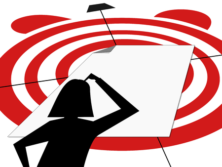 Silhouette of woman thinking in front of blank white sheet to hit the target within deadline Illustration