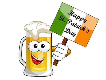 Cartoon beer mug holding Happy St. Patrick s banner isolated on white