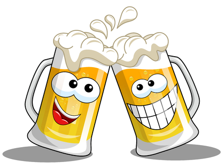 Cartoon beer mug making cheers isolated on white