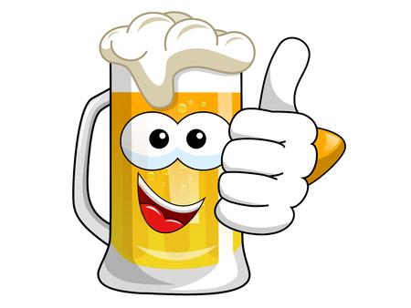 Cartoon beer mug thumb up isolated on white