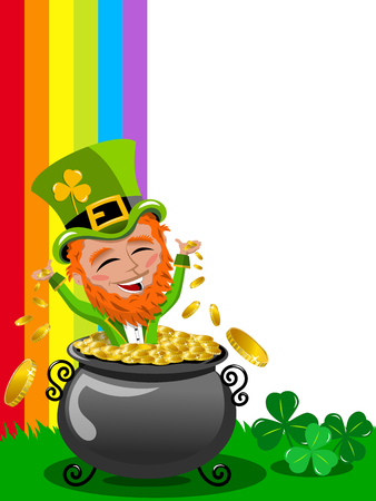 patron saint of ireland: St Patrick or Saint Patrick s exulting inside pot of gold frame isolated