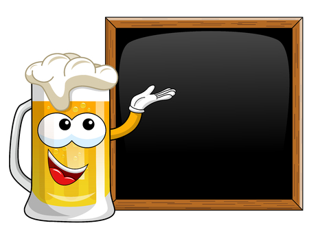 Cartoon beer mug presenting blank blackboard or chalkboard isolated on white Vector Illustration