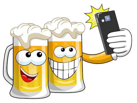 Tazas de cerveza de dibujos animados tomando selfie con smartphone aislado en blanco