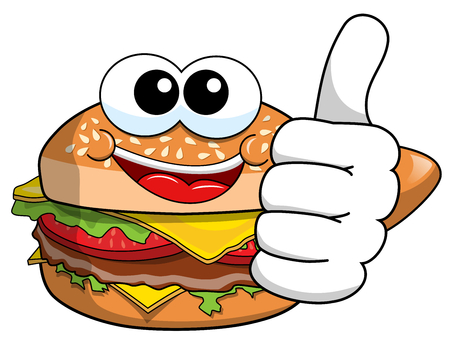 Cartoon hamburger character thumb up isolated on white Ilustração