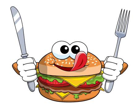 Hungry cartoon hamburger character holding fork and knife licking chops isolated
