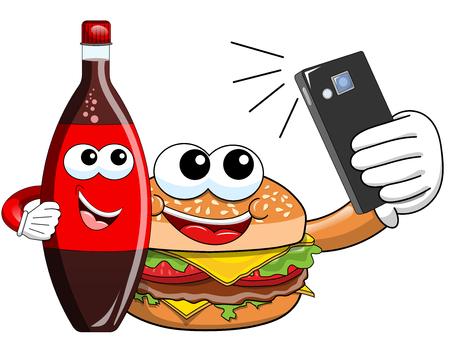 Cartoon hamburger coke bottle characters taking selfie smartphone isolated