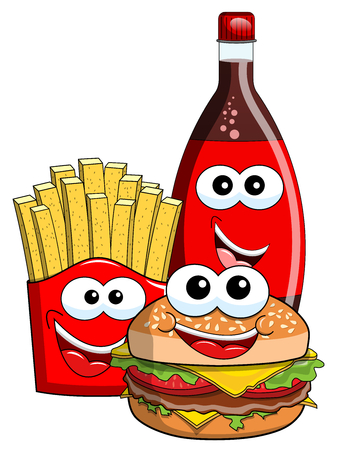 Cartoon Hamburger french fries and coke bottle characters isolated