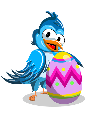 Cute cartoon bird holding decorated easter egg isolated Illustration