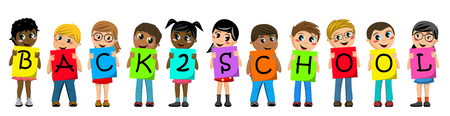 Multiracial kids or children holding cardboard to spell out back to school text isolated