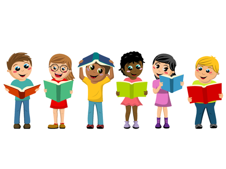 multicultural kids or children playing and reading books isolated on white Illustration