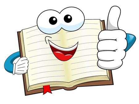 Cartoon mascotte boek duim omhoog geïsoleerd op wit