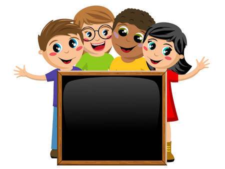 niño preescolar: multicultural kids or children behind blank blackboard or chalkboard isolated on white Vectores