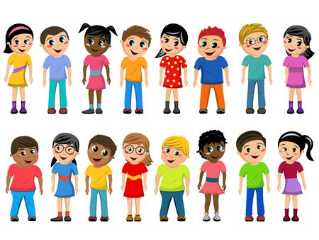 多文化子供たちや子どもたちが立って上孤立したホワイトのセット