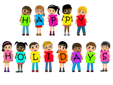 Multiracial kids or children holding cardboard to spell out happy holidays text isolated