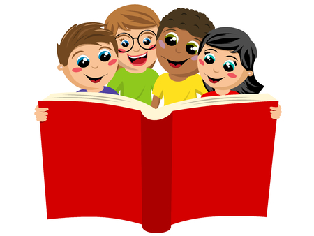 multicultural kids or children reading big book isolated on white Vectores