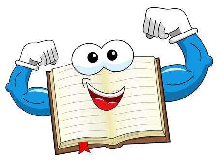 Mascotte open boek dat zijn geïsoleerde bicepsen toont Vector Illustratie