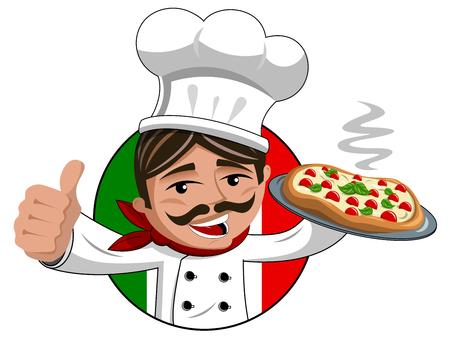 chef thumb up pizza chaude sur plateau isolé