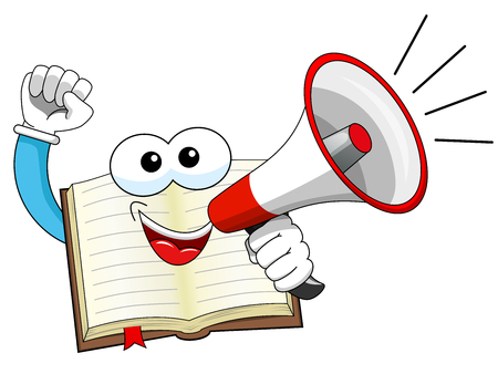 talking dictionary: Happy mascot open book speaking with megaphone isolated