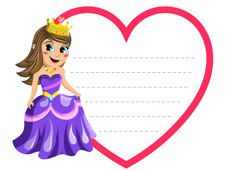article writing: Little cute princess blank heart shape isolated on white border