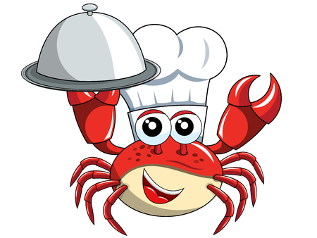 Crab chef mascot holding serving tray isolated on white