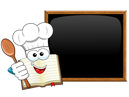 Cook book mascot holding wooden spoon presenting blank blackboard isolated Illustration