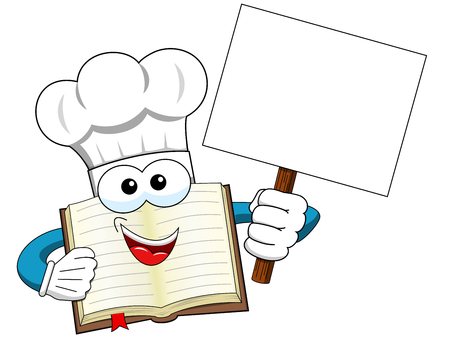 Cook book mascot holding blank banner isolated