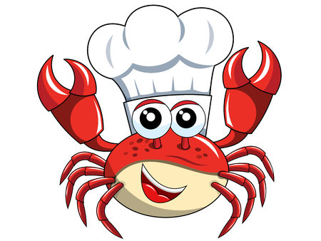 Happy Crab chef mascot with cook hat isolated