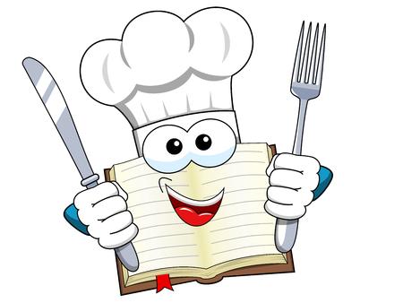 Cook boek mascotte hoed dragen en vork en mes geïsoleerd houden Vector Illustratie