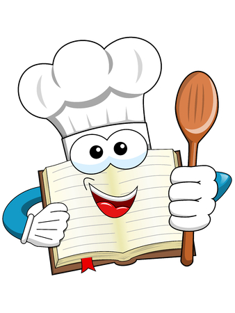 culinary arts: Cook book mascot holding wooden spoon isolated