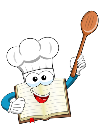 Cook book mascot holding wooden spoon isolated