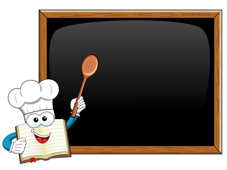 Cook book mascot holding wooden spoon teaching blank blackboard isolated