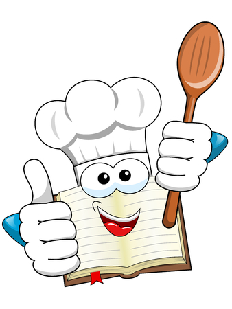 Cook book mascot thumb up holding wooden spoon isolated