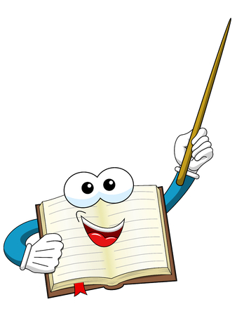 Book mascot holding teaching stick isolated