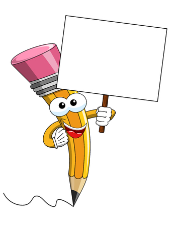 Pencil Mascot cartoon holding blank banner isolated