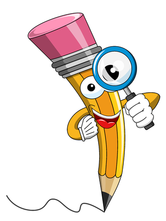 Pencil Mascot cartoon looking throughout magnifying glass isolated on white