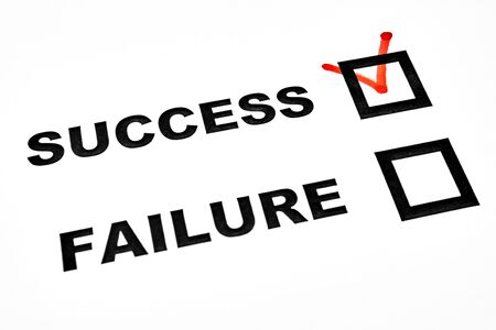 answer: Success and failure check boxes on white sheet tick on success