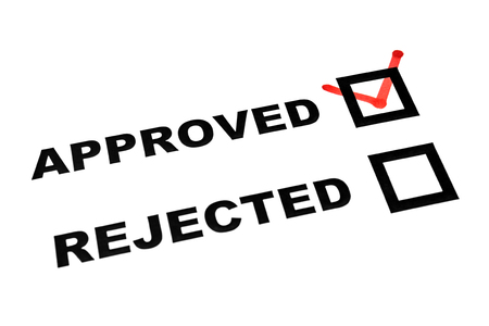 rightful: Approved and rejected check boxes on white sheet tick on approved
