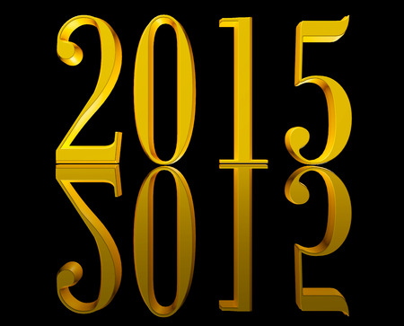 Shining golden 3D text New Year 2015 on black background with reflection