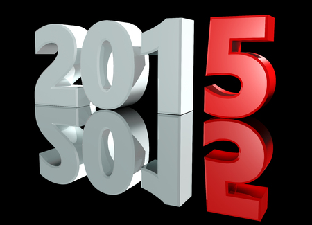 Shining 3D text New Year 2015 on black background with reflection Stock Photo
