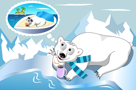 Polar bear with scarf having hot drink and daydreaming tropical sea holiday