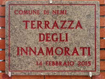 affixed: Terrazza degli innamorati (translation: Lovers Terrace) Plate in Nemi Italy
