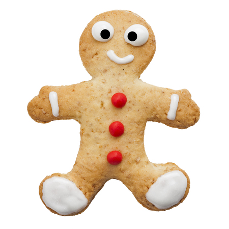 biscuits: Home made happy human shaped biscuit with red buttons isolated white background