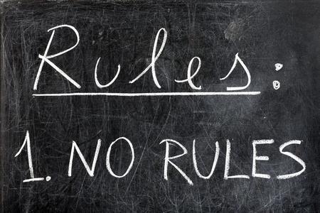 edicto: Reglas de la lista con una sola regla: no hay reglas escritas a mano con tiza blanca sobre la pizarra sucia