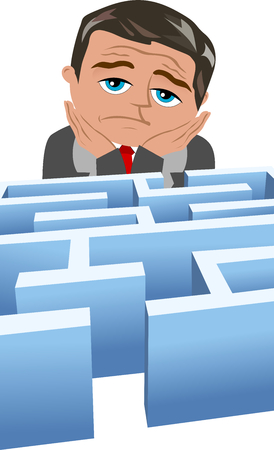 skepticism: Discouraged businessman in front of a maze isolated on white Illustration