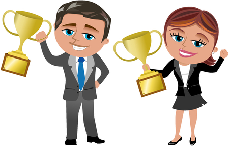 Cartoon businesswoman and businessman exulting for achieving good results holding trophy isolated