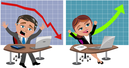 Unsuccessful businessman and successful businesswoman working with computer at own office desk in front of negative and positive graph isolated